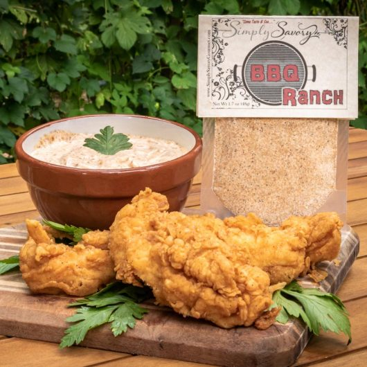 BBQ Ranch Dip with Chicken Fingers and Chips