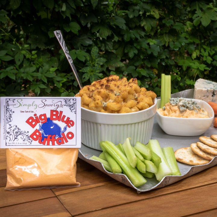 Big Blue Buffalo Dip and Mac and Cheese