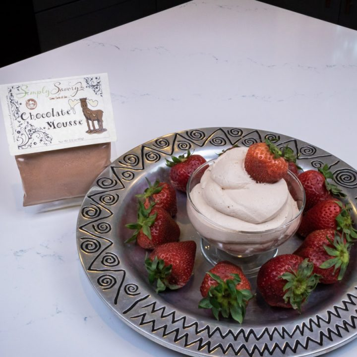 Chocolate Mousse Dessert Dip with Strawberries