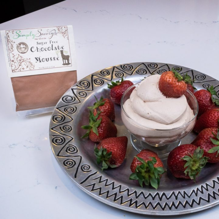 Sugar Free Chocolate Mousse Dessert Dip with Strawberries
