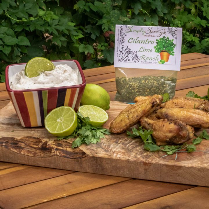 Cilantro Lime Ranch Dip with Buffalo Wings