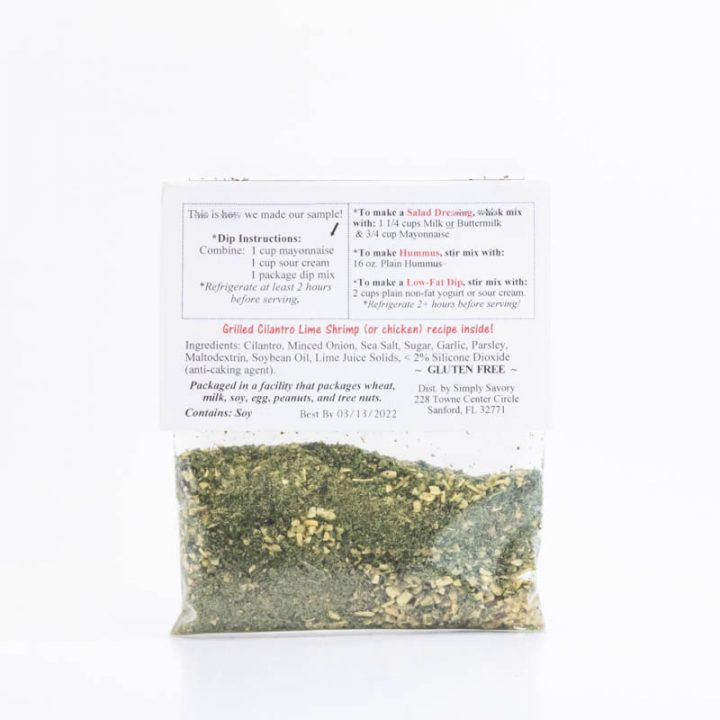 Cilantro Lime Ranch Dip Mix Packet Back