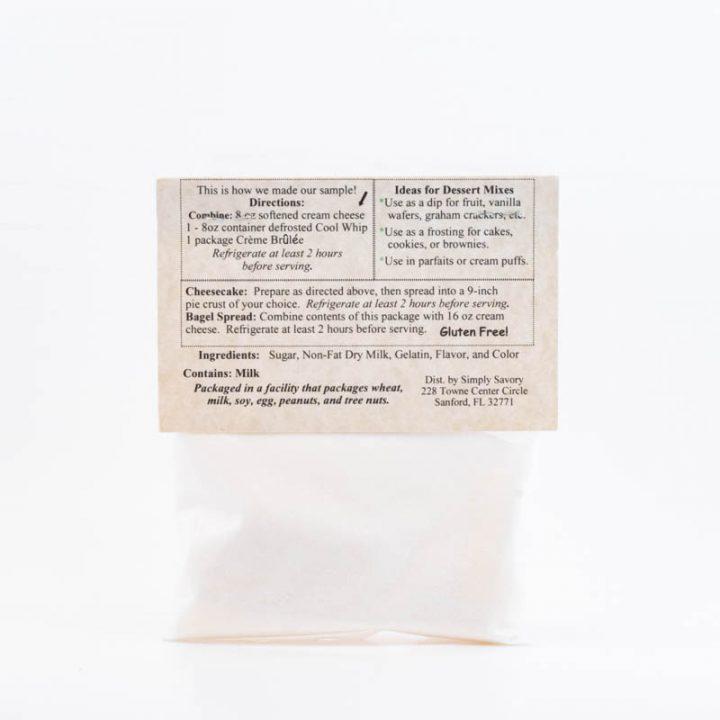 Creme Brulée Dessert Dip Mix Packet Back