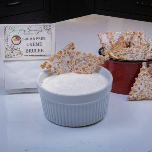 Sugar Free Creme Brulée Dessert Dip with Cannoli Chips