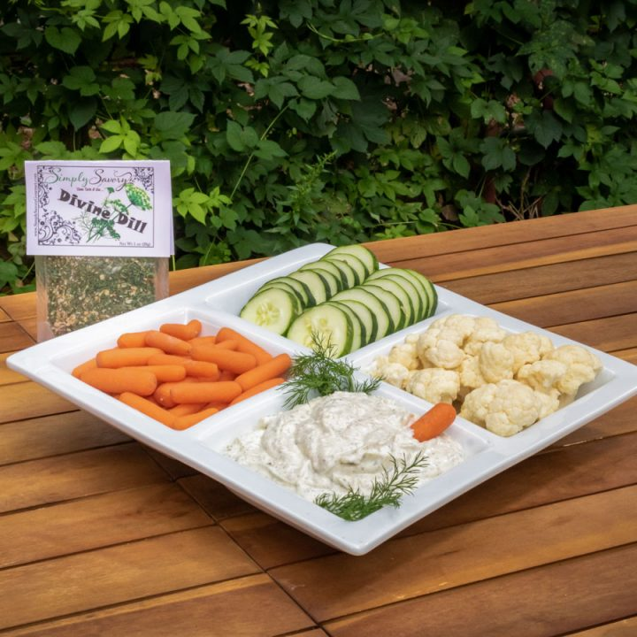 Divine Dill Dip Mix with vegetables
