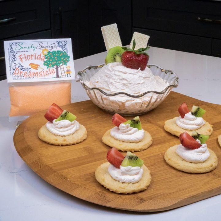 Florida Dreamsicle Dessert Dip on Sugar Cookies