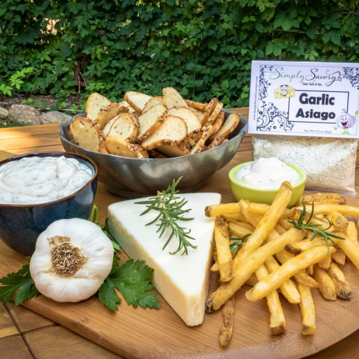 Garlic Asiago Dip with French Fries and Bagel Chips