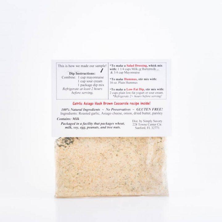 Garlic Asiago Dip Mix Packet Back