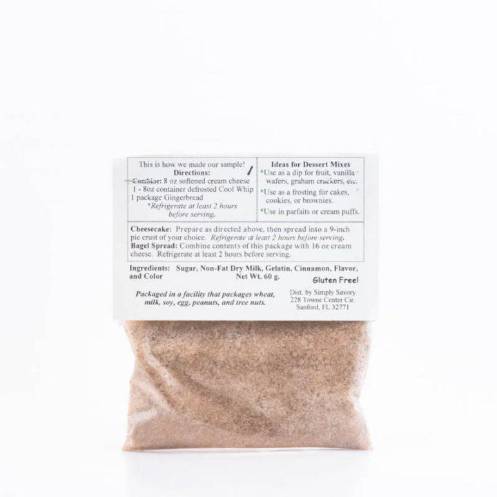 Gingerbread Dessert Mix Packet back