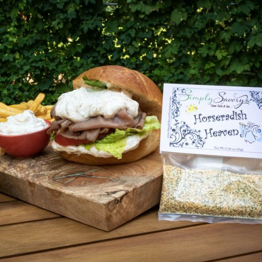 Horseradish Heaven Dip on a Roast Beef Sandwich