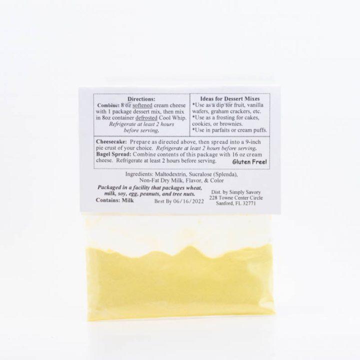 Sugar Free Key Lime Pie Dessert Mix Packet Back