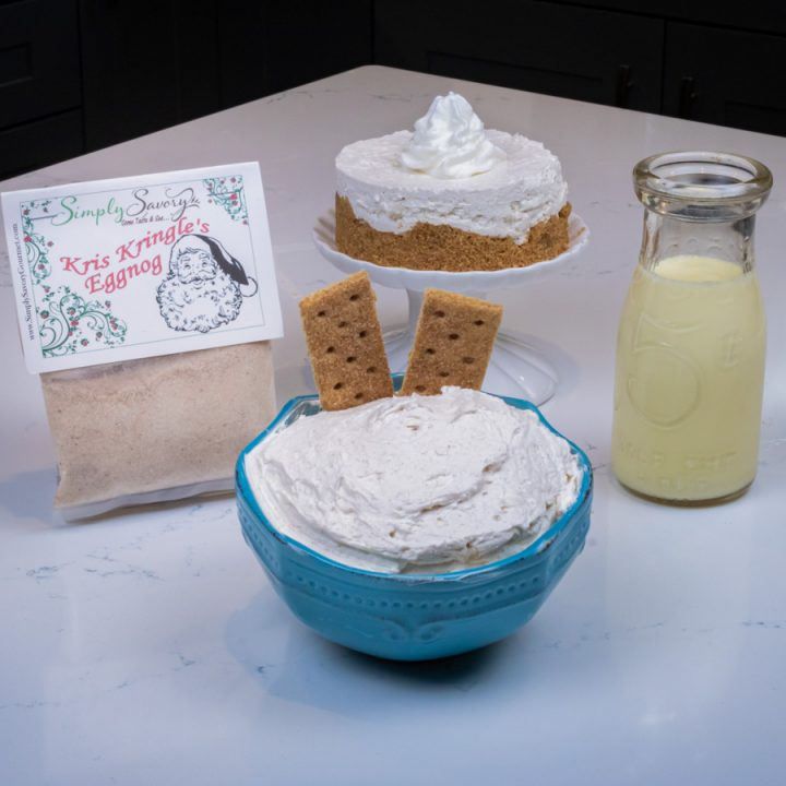 Kris Kringle's Eggnog Dessert Dip and Cheesecake