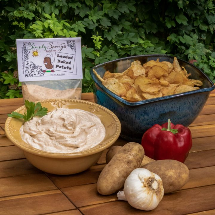 Loaded Backed Potato Dip with Potato Chips
