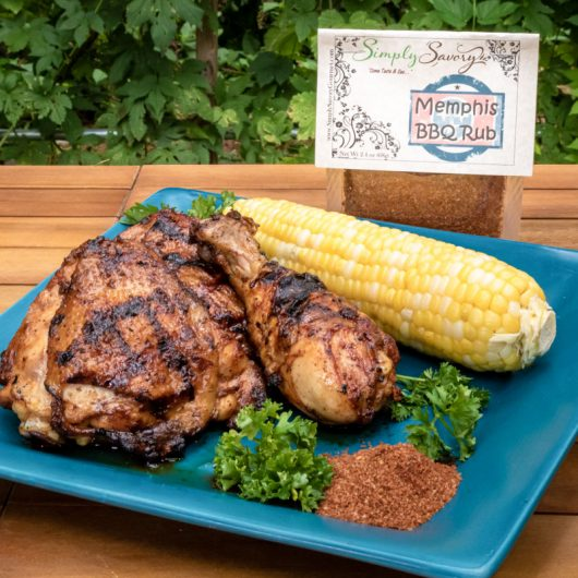 Memphis BBQ Rub on Chicken with Corn