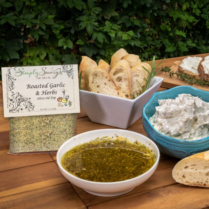 Roasted Garlic and Herb dip and dipping oil