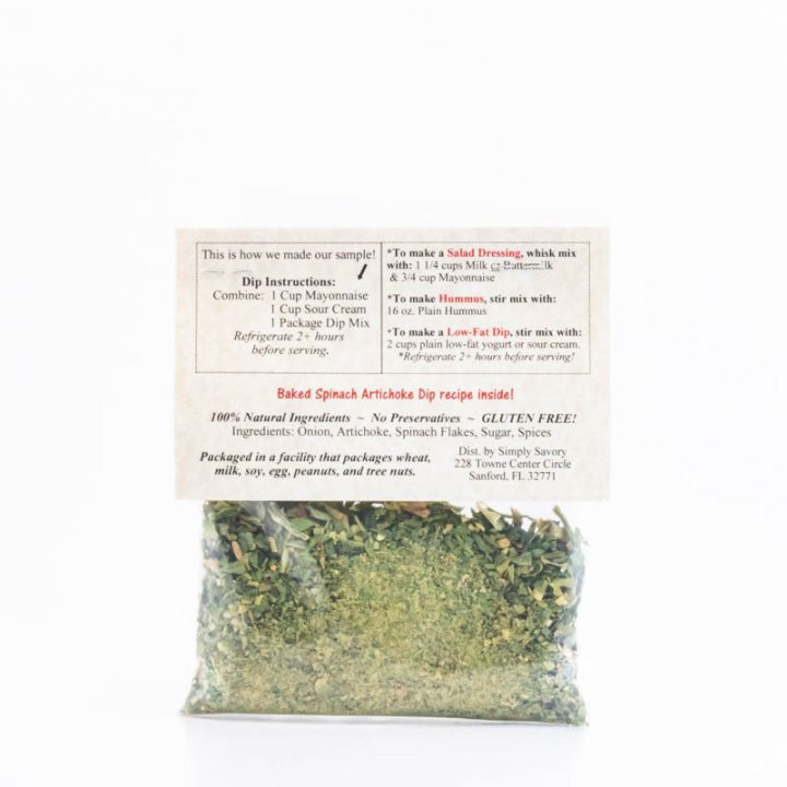 Spinach Artichoke Dip Packet Back