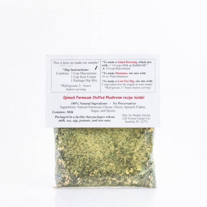 Spinach Parmesan Dip Packet Back