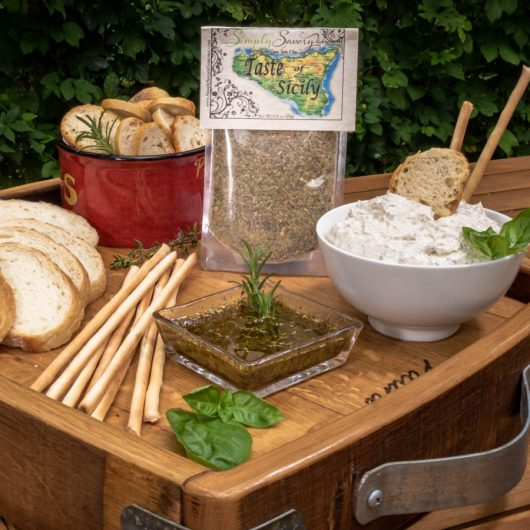 Taste of Sicily Dip and Dipping Oil with Bread