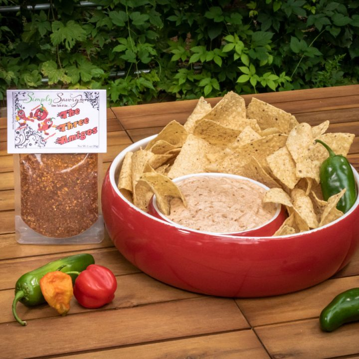 The Three Amigos Dip With Tortilla Chips