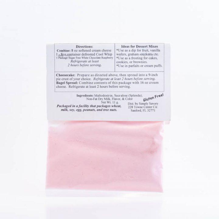 Sugar Back of Free White Chocolate Raspberry Dessert Mix Packet